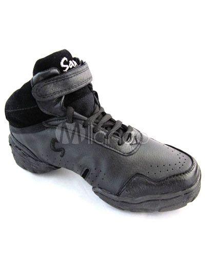 Practical Black Pig Skin PVC Sole 2 3/5'' High Heel Womens Jazz Shoes