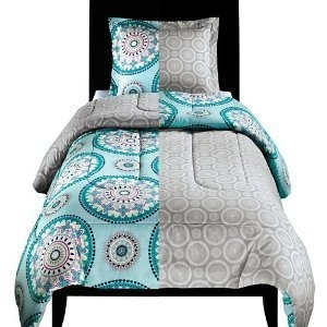 Twin XL Bed Reversible Comforter  Sham Set Blue and Beige Medallion