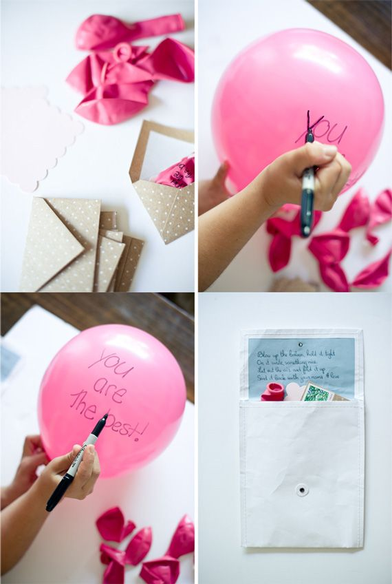 DIY birthday balloon bouquet - Card reads...Blow up the balloon, hold it tight. On it write something nice. Let out the air and fold it up. Send it back with your name and love.