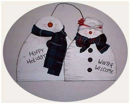 Free woodcraft patterns - Mr. and Mrs. Snowhappy