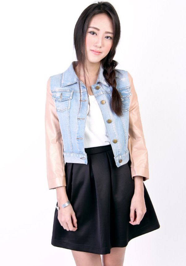 Women Denim Jacket with Leather Sleeves   My Love Fashions   Pinterest