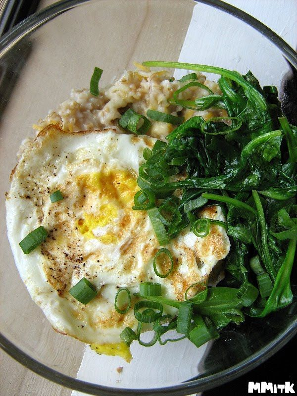 yummy savory oatmeal idea - steel cut oats, soft cooked egg, spinach ...