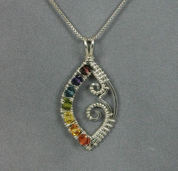 handmade wire wrapped chakra pendant in sterling silver