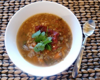 Spicy Lentil Soup with Chipotle and Poblano Peppers. Quick and packed ...