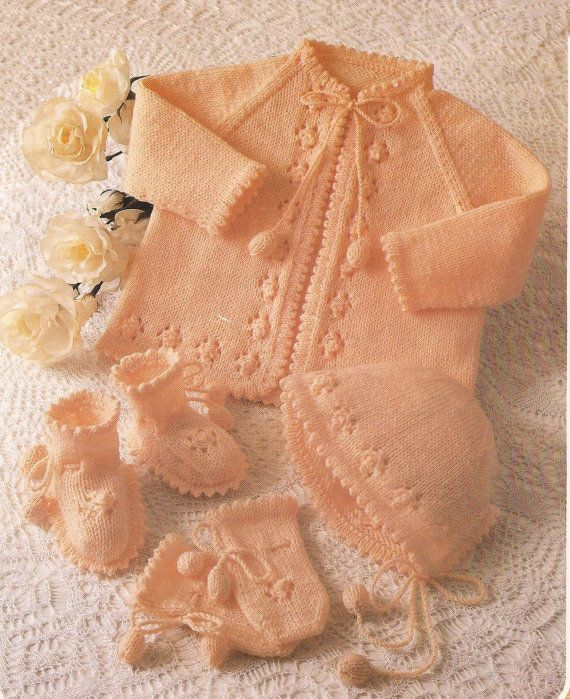 Knitted Baby Angel/Matinee Coat/Jacket/Cardigan and by ...