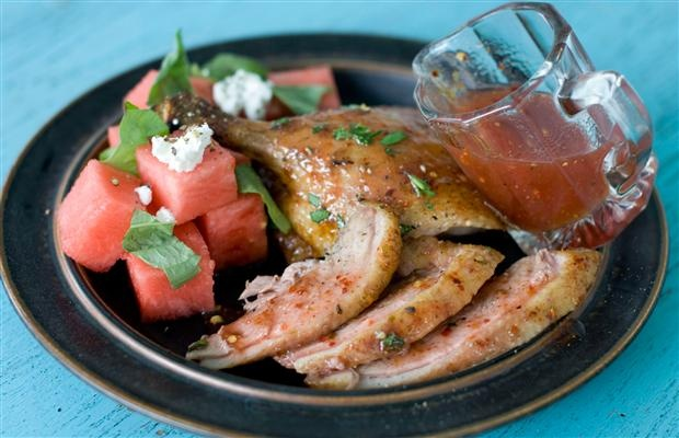 Recipe: Grilled butterflied duck with spicy watermelon glaze. http ...