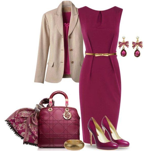 Purple classic work dress