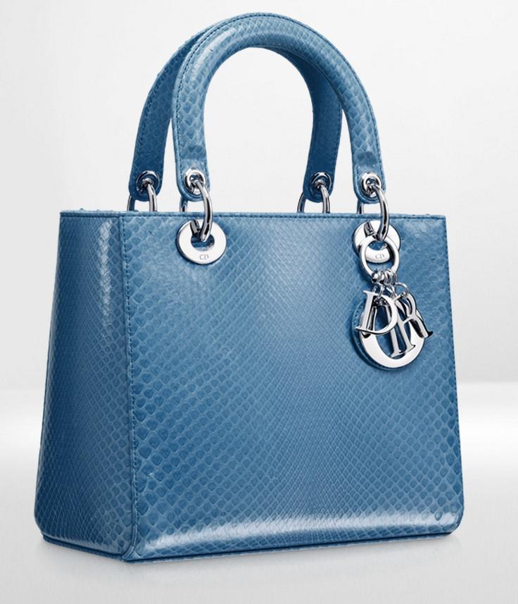 Glossy mykonos blue python Lady Dior