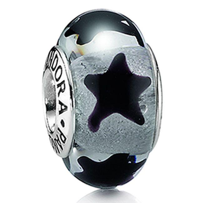 Pandora Murano Glass Black Stars