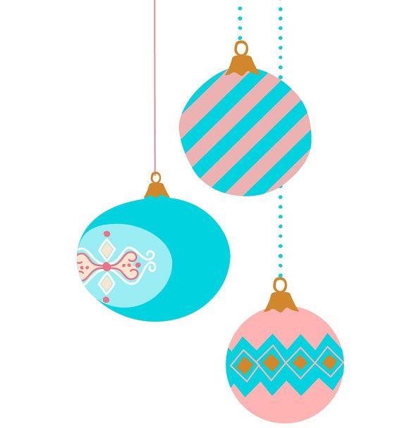vintage Christmas ornament clip art  pastel color  retro Christmas    Vintage Christmas Ornaments Clipart