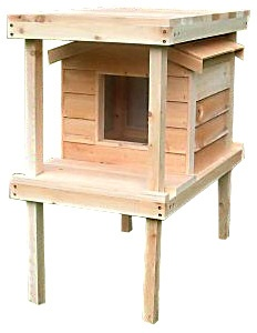 INSULATED CEDAR CAT HOUSE WITH RAISED PLATFORM & LOFT