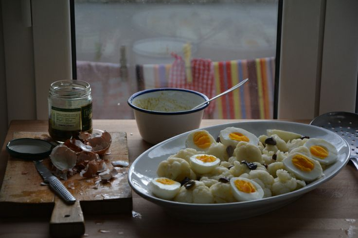 Cauliflower with hard-boiled egg, black olives and anchovy-lemon ...