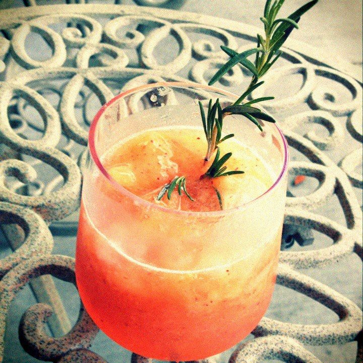 frozen peaches, pitted and pureed, 1 Tbs lime juice, 1/2 cup sparkling ...