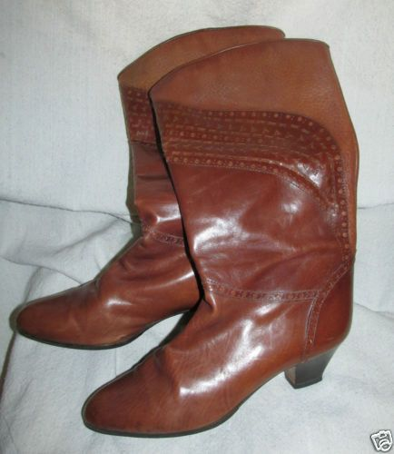 BARGIF Boots Brown Leather Vintage Womens 38 made in Italy
