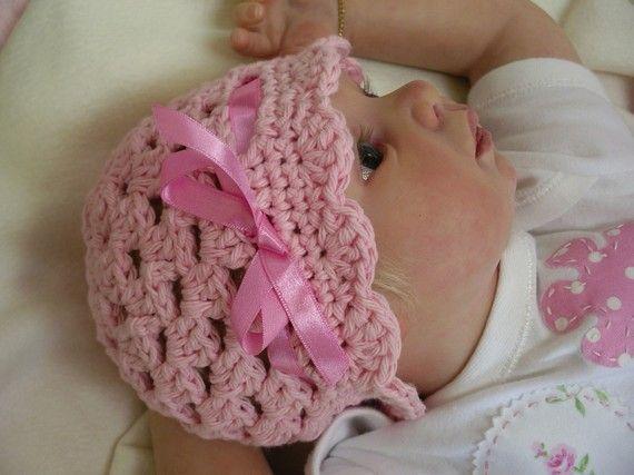 Crochet Baby Hat Pattern - Easy Peasy Ribbon and Shells Crochet Patte ...
