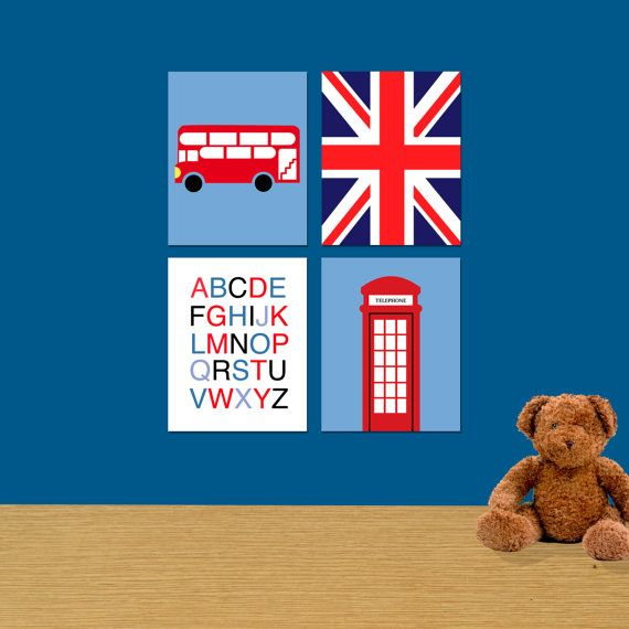 Kids British Themed Wall Prints, Set of 4 8x10, Available Now!