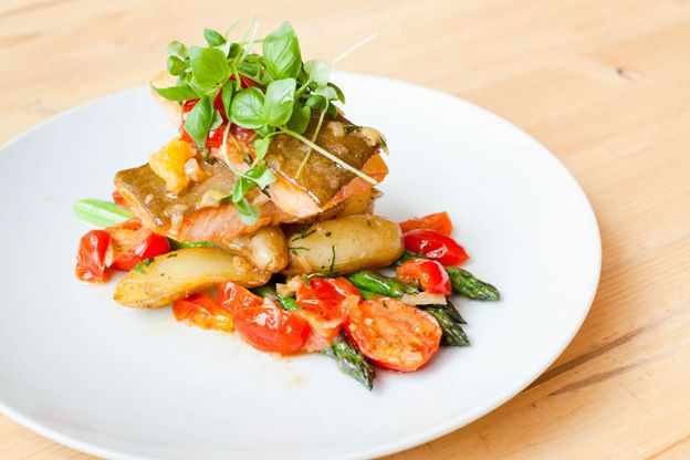 Arctic char with fingerling potatoes, braised herb tomatoes and ...