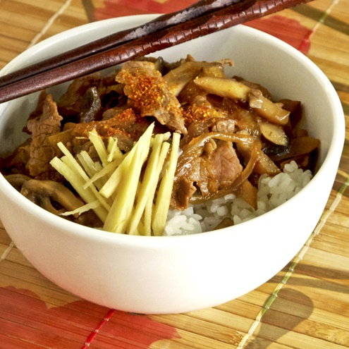 Gyudon - Japanese beef bowl cooked in soy, mirin and sugar. Served ...