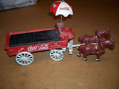 Vintage Cast Iron Coca Cola Horse Drawn Delivery Wagon Cart WITH UMBRELLA