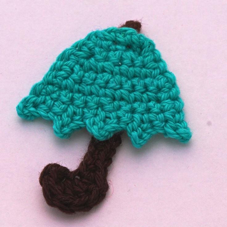 Crochet umbrella applique #tutorial #appliques #free ...
