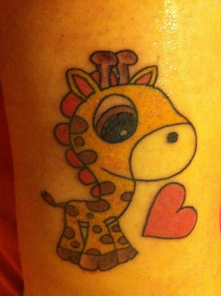 Baby cartoon Giraffe tattoo!