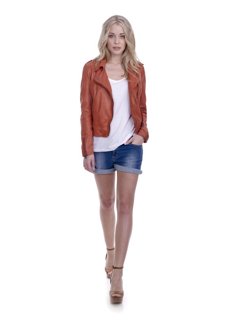 Burnt orange leather jacket. | My Style