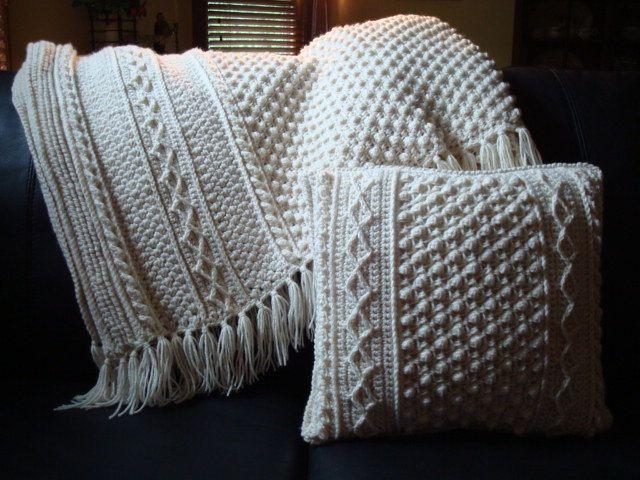 Crochet Pattern Aran Afghan : Dublin Aran Afghan - Ecru - Large
