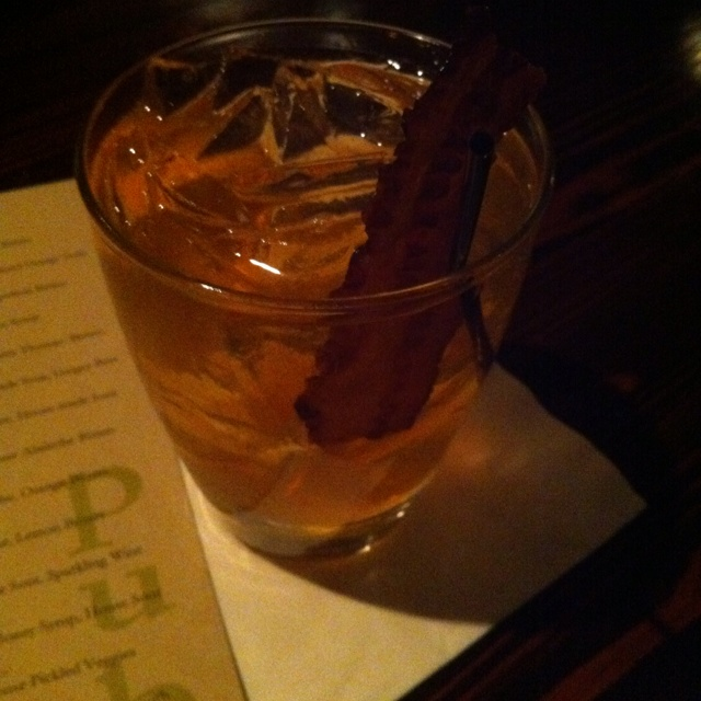Bacon infused bourbon, vanilla maple syrup, bitters! With a mother f ...