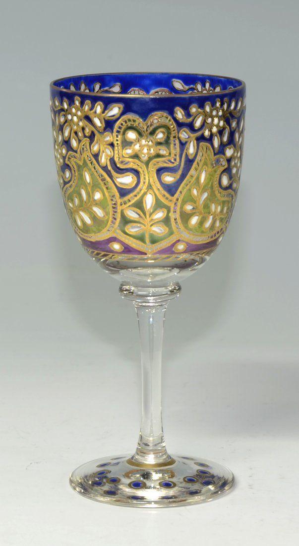 Бокал с вином - Открытый кубок стекло с прозрачной эмалью Цветочный дизайн с позолотой установить в колеса-Cut границ - Подписано Фриц Heckert c.1910