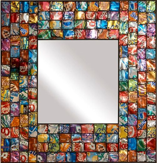 Pop Art Mirror Made From Recycled Soda Pop Aluminum Cans