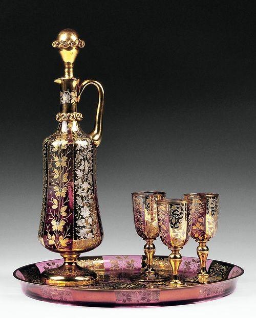 Чешский Amberina эмалированного стекла Ликер Комплект c.19th века.