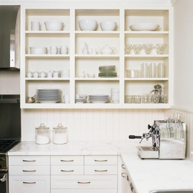 White Kitchen Shelf: All White Kitchen. Open Shelves.