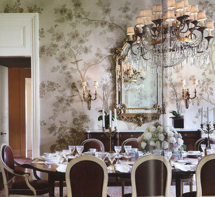Wallpaper, chandelier, beautiful dining