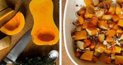 Butternut Squash With Pecans & Blue Cheese
