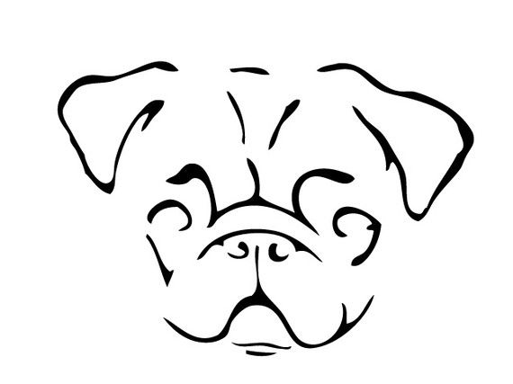 Pug Face Line Drawing : Pin pug outline on pinterest