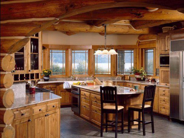 Log Cabin Kitchen Log Homes Pinterest