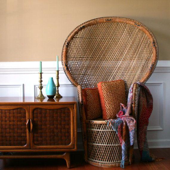 Chinoiserie Peacock Chair. Hollywood Regency High Fan Back. Home Decor. Rattan. Wicker. Tiki. Patio Chair. Garden Decor.. $350,00, via Etsy.