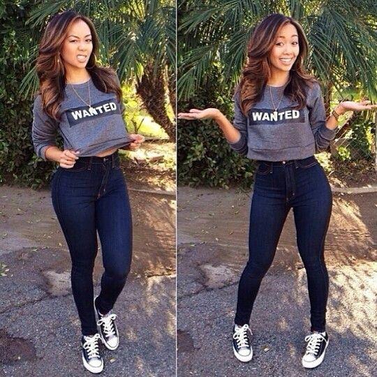 Crop top and high waist jeans. | My stylez | Pinterest