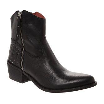 NafNaf Black Leather Ankle Boot