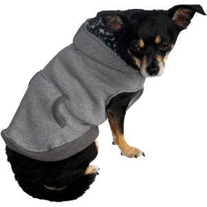 Dog Fleece Hoodie, Gray, (M
