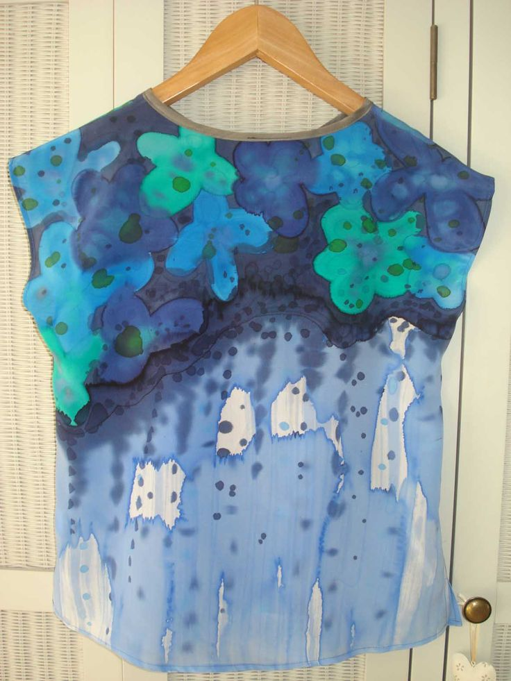 New hand painted silk top  By Freyelli
