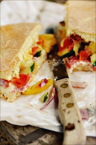 Roasted Veggies and Salami Flat Bread Sandwich....this sounds soooo ...