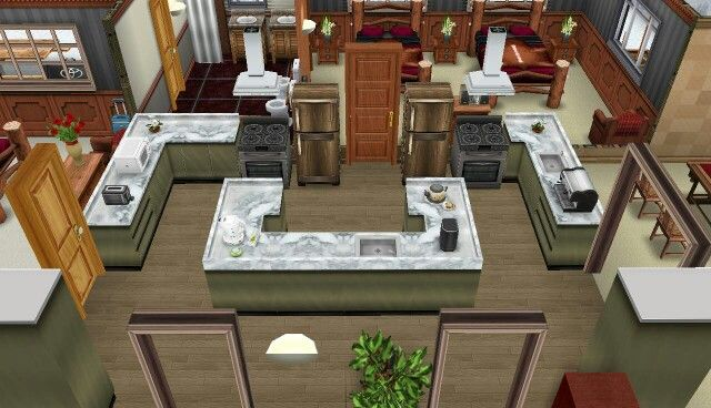 Sims freeplay log cabin super cool kitchen simsfreeplay for Sims 2 kitchen ideas