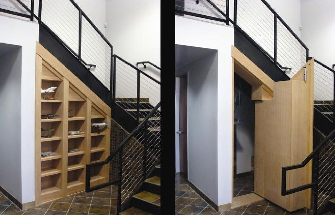 Hidden storage under stairs Railings and stairs Pinterest