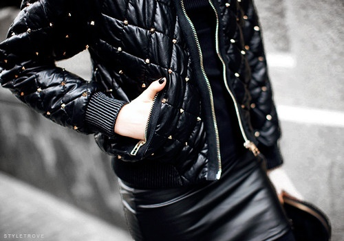 Gold studded and quilted bomber jacket.