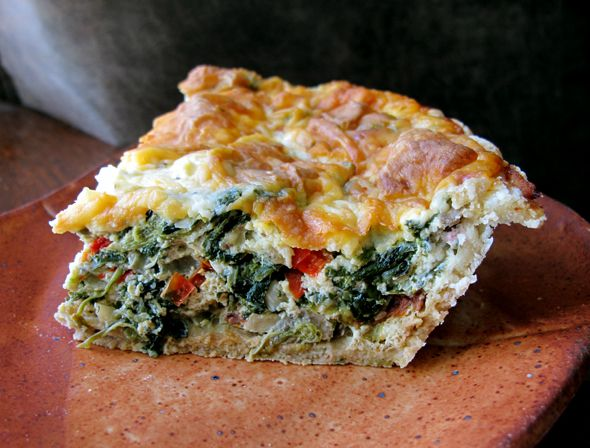 "Garden ""Green Monster"" Quiche with Swiss Chard, Spinach, and Kale"