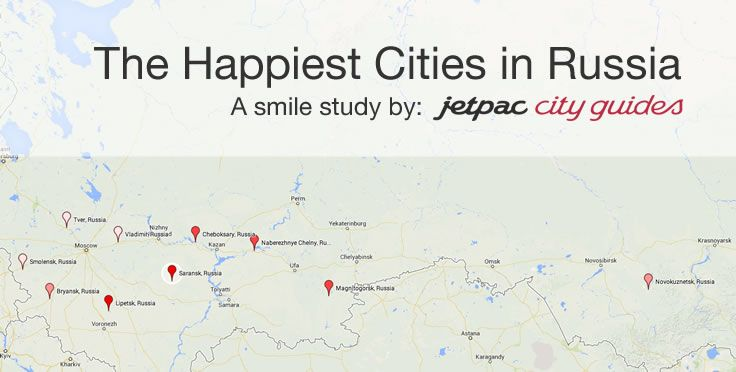 Map of The Happiest Cities in Russia