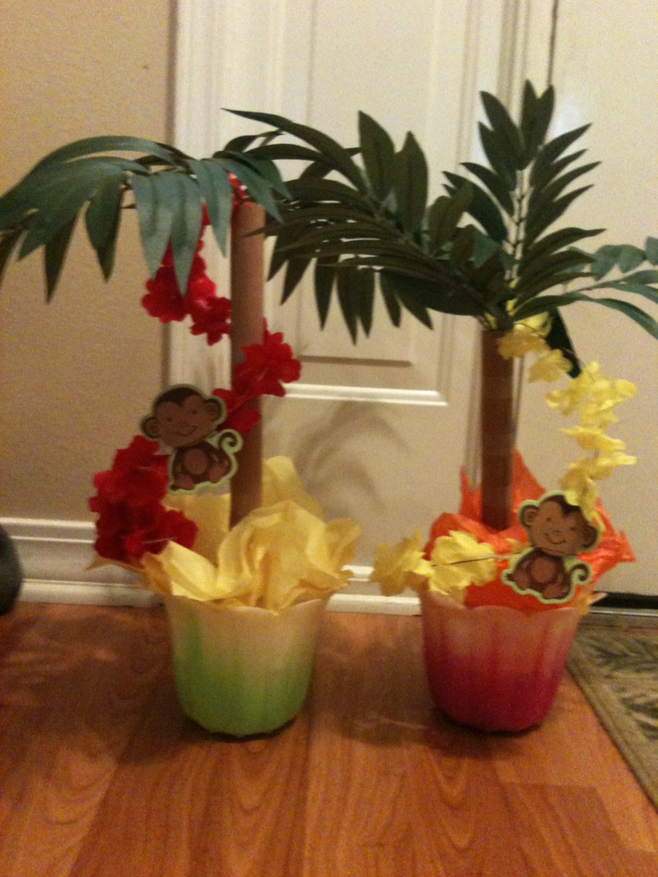 Hawaiian Table Centerpieces For Blue And Gold Banquet