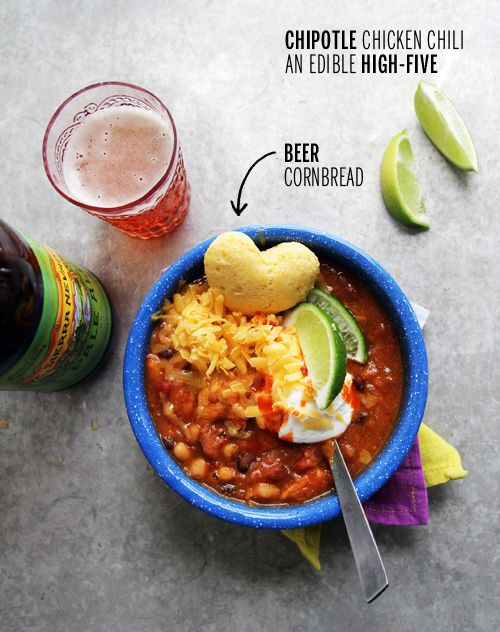 Chipotle Chicken Chili with Heart-Shaped Beer Cornbread // take a ...