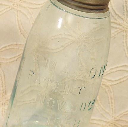1853 Mason Canning Jar 1Quart With Zinc Lid | SurrenderDorothy - Antiques on ArtFire